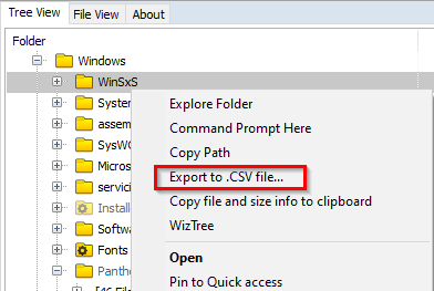 exporting files and folder info from WizTree as CSV file