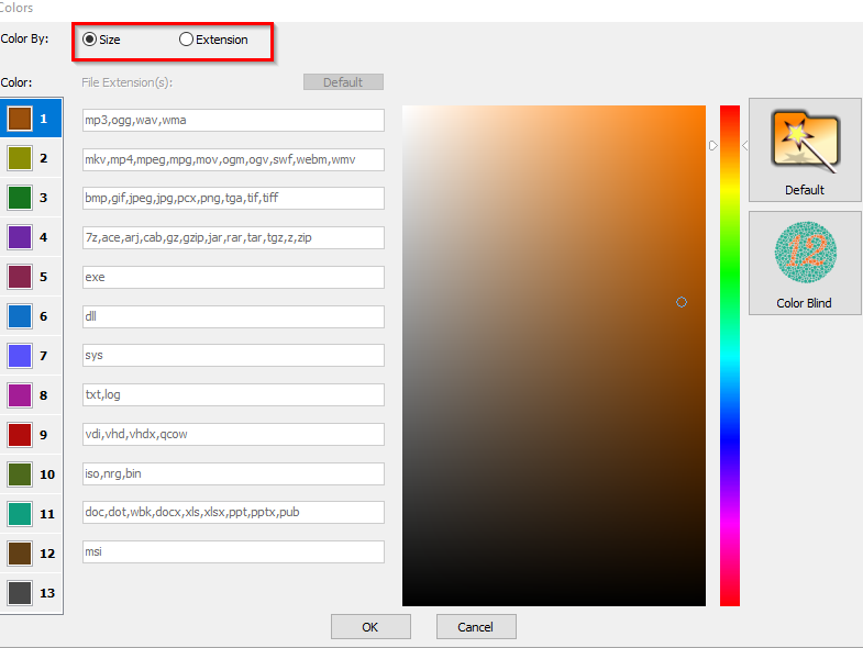 displaying treemap by size or extension in WizTree