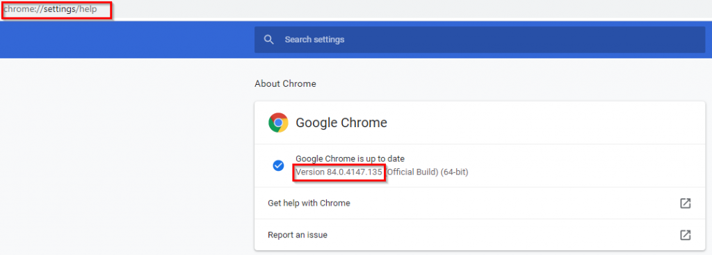 checking Google Chrome version