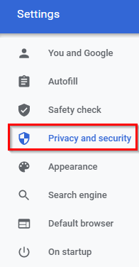 privacy and security options in Google Chrome
