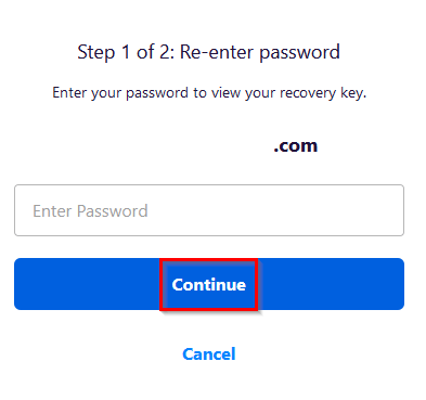 entering password to view the generated recovery key