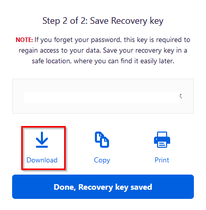 saving recovery key in Firefox