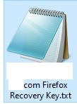text file containing Firefox recovery key