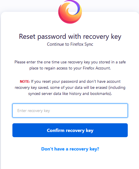 reset Firefox password with recovery key