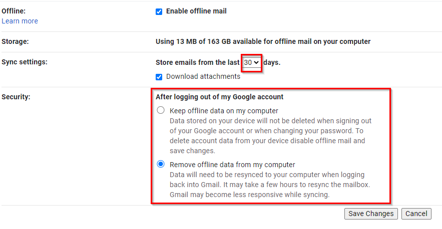 choose storage and security options for Gmail offline mode