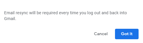 deleting data when logged out during Gmail offline mode