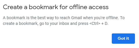 add Gmail bookmark for offline access