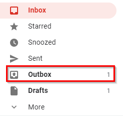 Gmail messages stored in outbox during offline mode