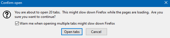too many tabs prompt when opening all the livemarks in new Firefox tabs