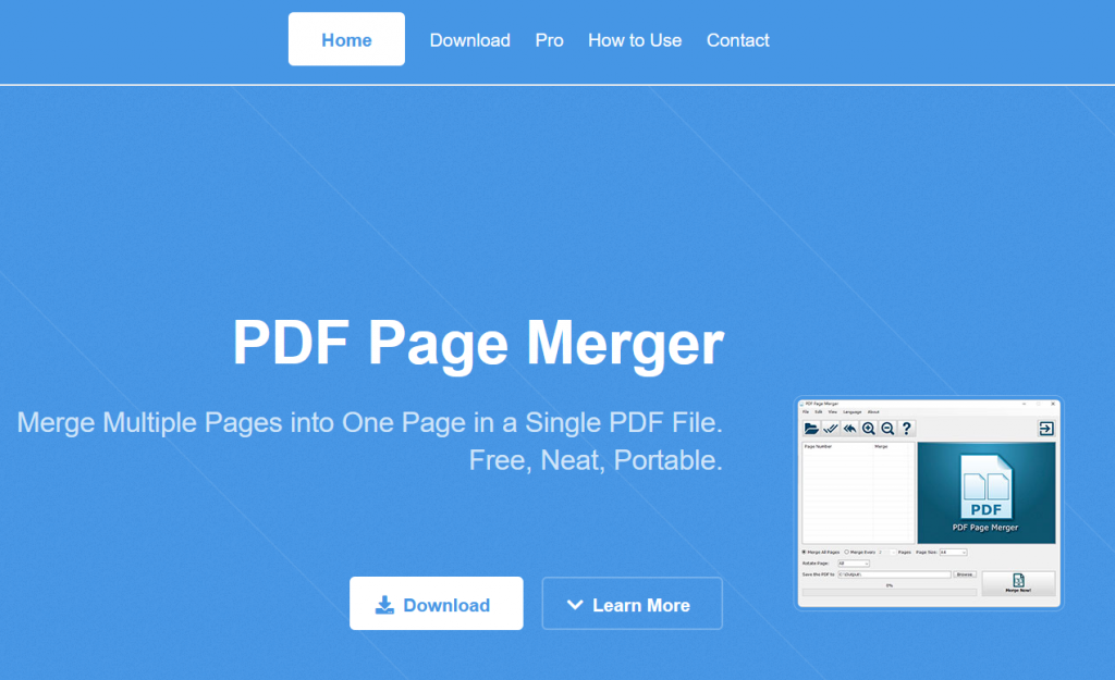 PDF Page Merger product page