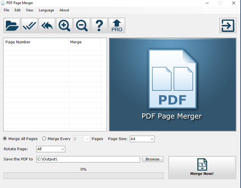 PDF Page Merger interface