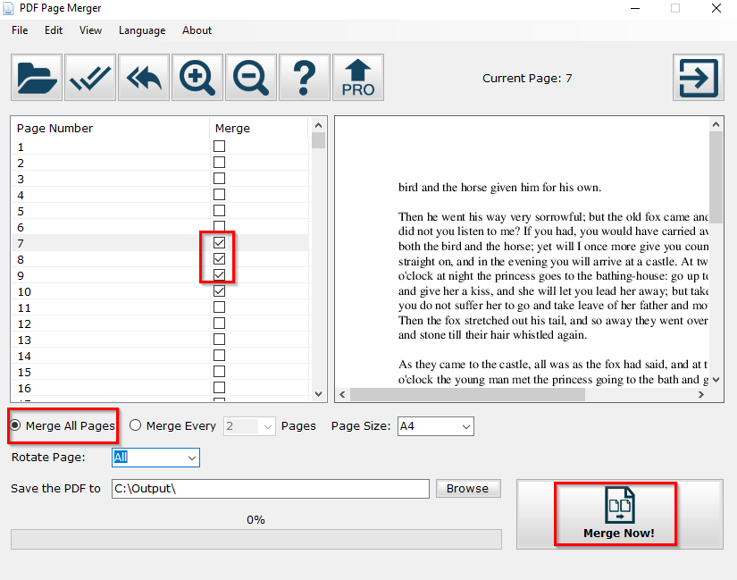 choosing pages to be merged using PDF Page Merger