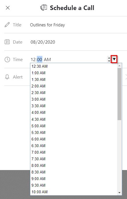 choosing time for scheduled calls in Skype