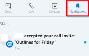 scheduled calls updates in notifications section of Skype