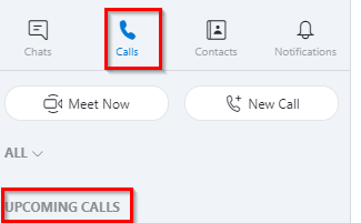 list of scheduled calls can be viewed from calls section in Skype