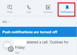 scheduled call deleted notification received by Skype contacts
