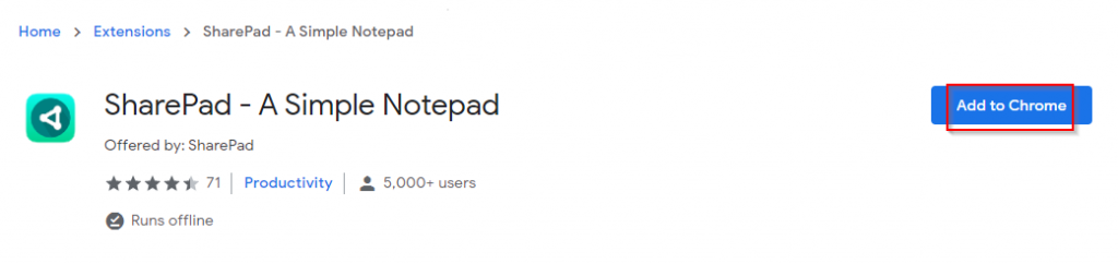 SharePad add-on page for Chrome