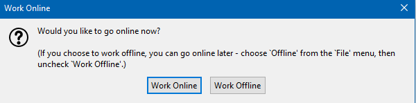 prompt to choose online or offline mode in Thunderbird on launch