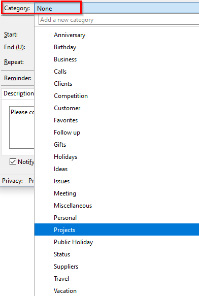 adding calendar event to a category in Thunderbird