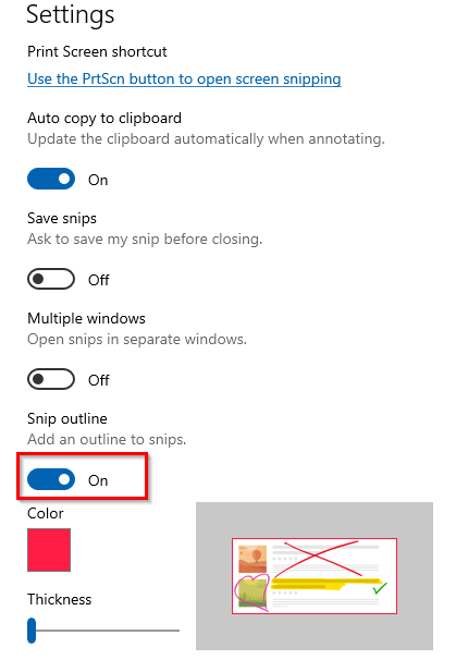 enable the outline option for Snip & Sketch