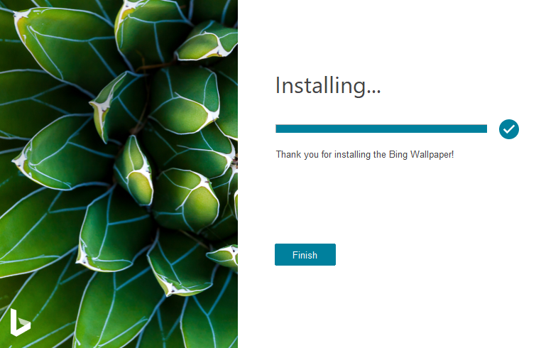 Installation completed for Bing Wallpaper app