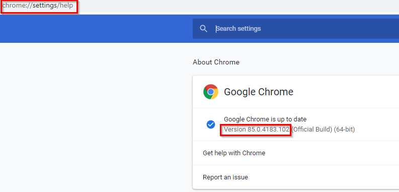 checking the current version of google chrome