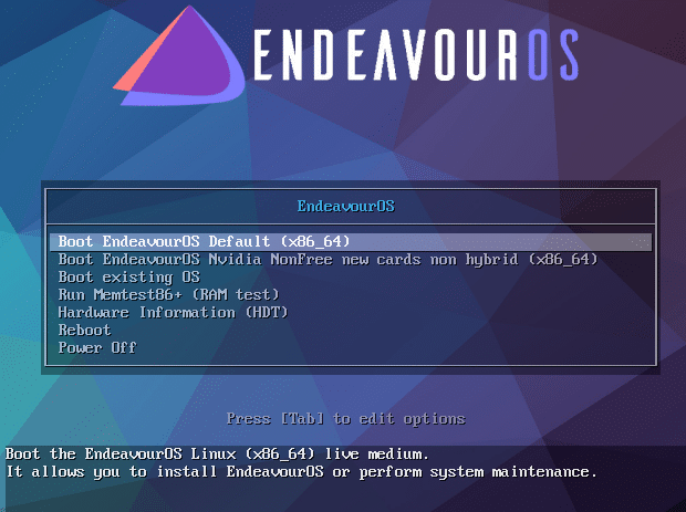 EndeavourOS live USB boot-up
