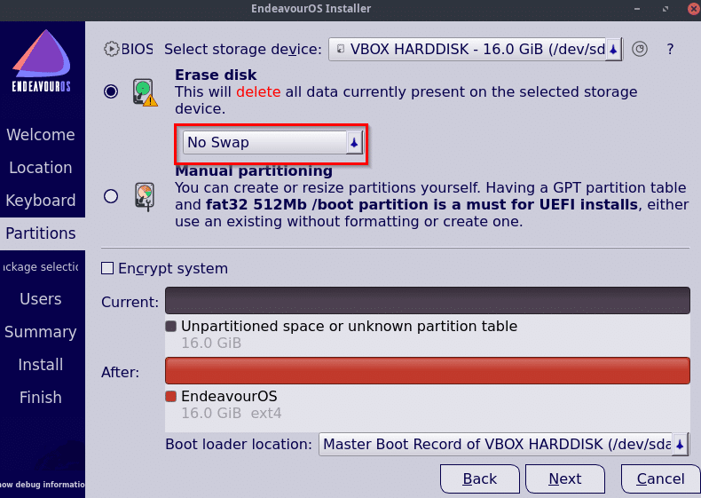 disk partitioning options during EndeavourOS installation
