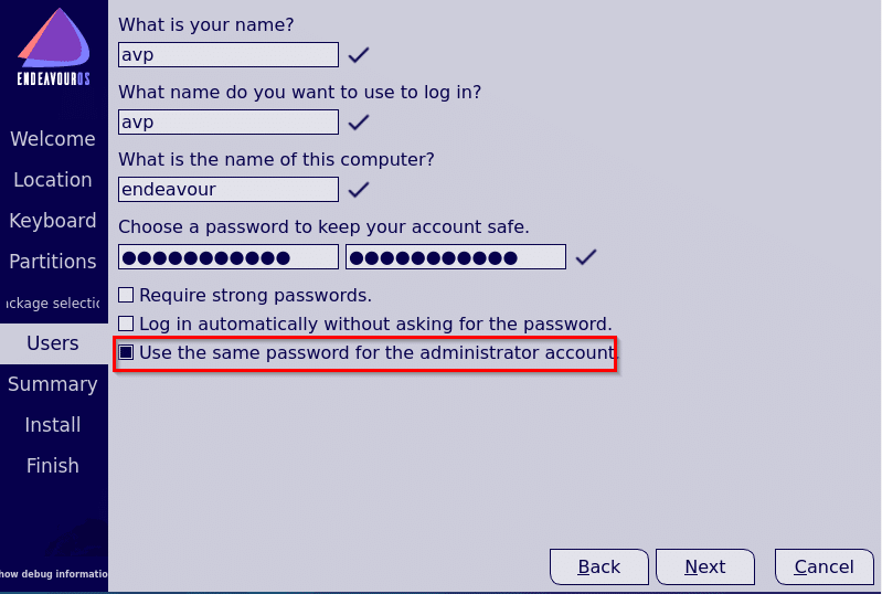 creating a user during EndeavourOS installation