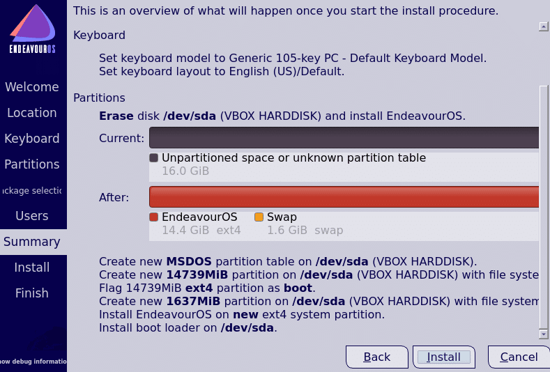 review and finalize installation settings for EndeavourOS