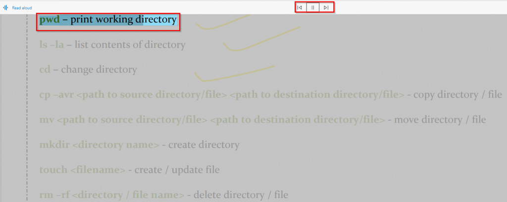 start and stop voice narration for PDF contents using Edge PDF toolbar