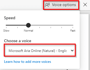 changing voice options for read aloud in Edge