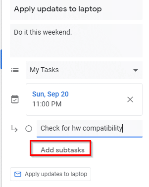 adding subtasks to the main task in gmail