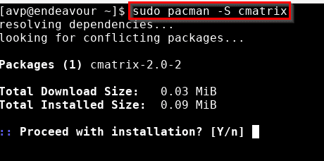 installing packages in EndeavourOS using pacman