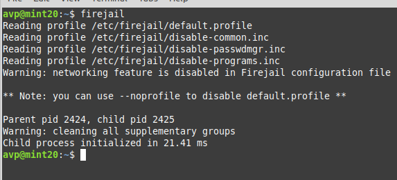 running firejail from the Linux command line
