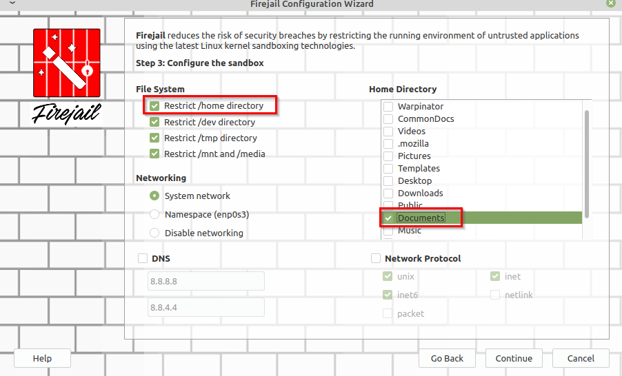 restricting home directory folders using Firetools configuration wizard