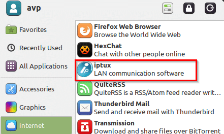 iptux installed in linux mint