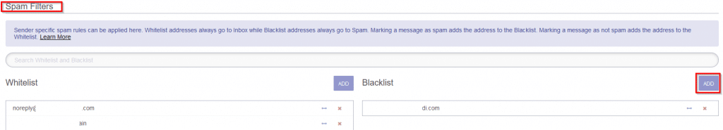 spam filters section in protonmail