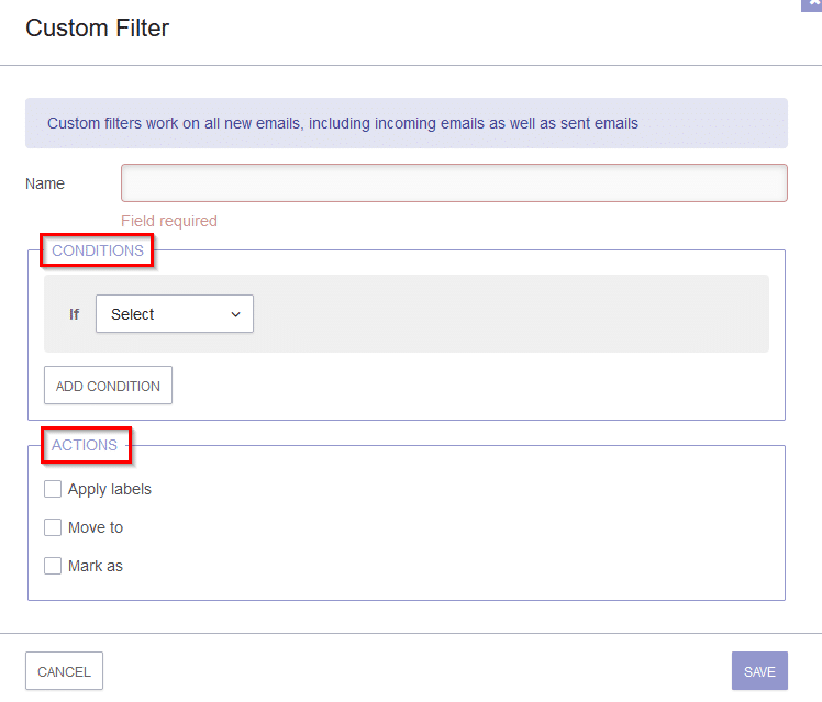 conditions and actions in protonmail filters