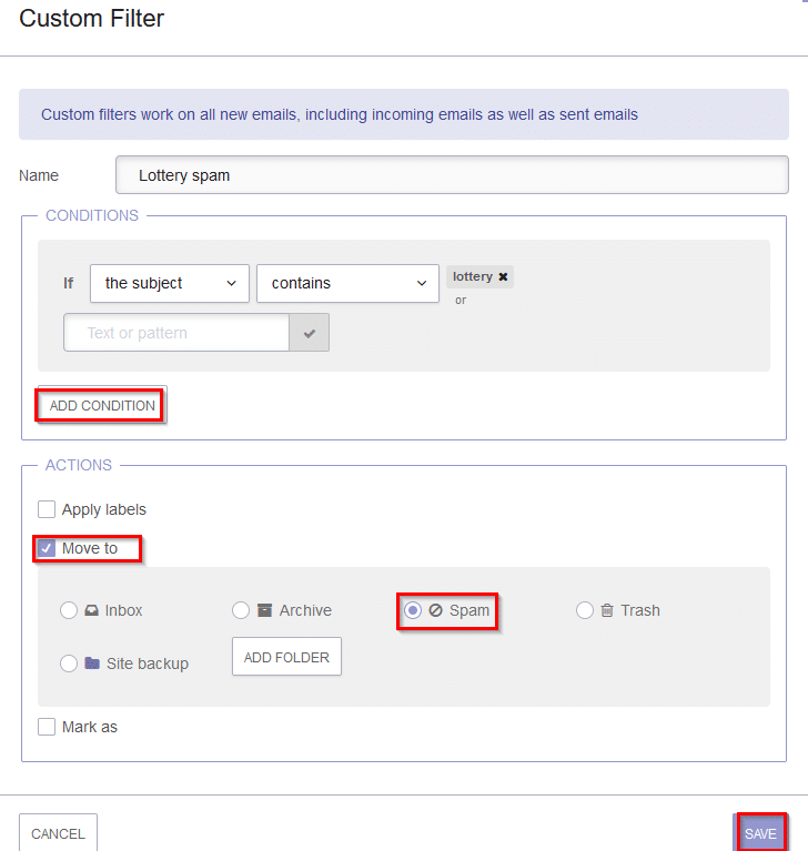 adding an action for met conditions in protonmail filter