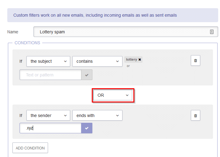 using the OR attribute for filter conditions in protonmail