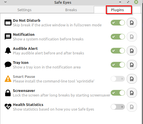 enabling and disabling various Safe Eyes plugins for notifications, alarms and more