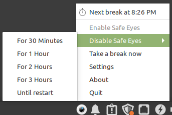 disabling Safe Eyes for a fixed time