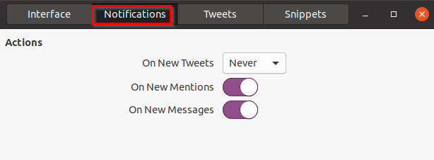 configuring notification settings for Cawbird