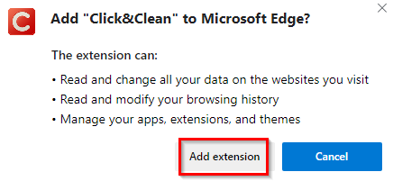 adding Click&Clean add-on to Microsoft Edge browser