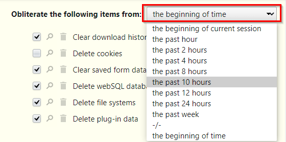 deleting browser data from a selected time period