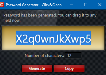 generating a random password using Click&Clean
