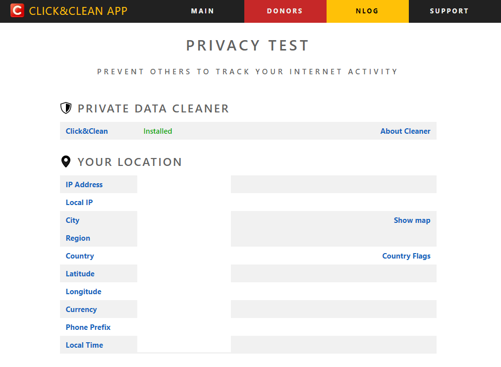 running a privacy test for browser through the Click&Clean website