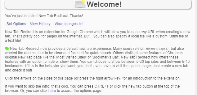 a brief description of New Tab Redirect after installing it