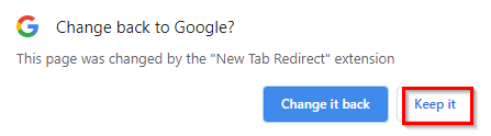 allow New Tab Redirect to control new tabs in Chrome